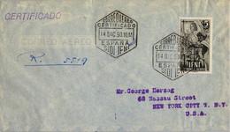 1950 SIDI IFNI - NUEVA YORK , SOBRE CERTIFICADO , CORREO AÉREO , LLEGADA AL DORSO , ED. 71 , DIA DEL SELLO - Ifni