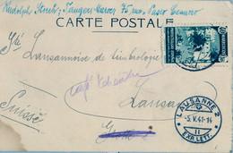 1941 TÁNGER - LAUSANA , TARJETA POSTAL CIRCULADA  , LLEGADA - Spanish Morocco