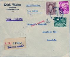 1938 PERÚ , SOBRE CERTIFICADO , AREQUIPA - LIMA , VIA AÉREA , LLEGADA AL DORSO - Peru