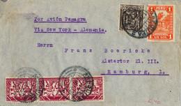 1933 PERÚ , SOBRE CIRCULADO ENTRE AREQUIPA Y HAMBURGO POR AVIÓN PANAGRA VIA NEW YORK - Peru
