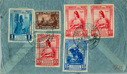 1935 PERÚ , SOBRE CIRCULADO ENTRE ILO Y HAMBURGO , CORREO AÉREO , TRÁNSITO LIMA , IV CENT. DE LA FUNDACIÓN DE LIMA - Perù