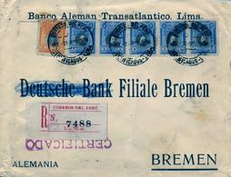 1919 PERÚ , SOBRE CERTIFICADO ENTRE LIMA Y BREMEN . BANCO ALEMÁN TRANSATLÁNTICO , BONITO FRANQUEO , LLEGADA - Perù