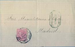1882 MADRID , ENVUELTA CIRCULADA ,  OCTOGONAL CORREO CENTRAL / INTERIOR , ED. 202 , MAT. TRÉBOL / ESTAFETA DEL ESTE - Cartas