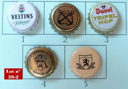Lot N° 39-2 : 5 Capsules De Bière (parfait état - Pas De Trace De Décapsuleur) Beer - Cerveza - Birra - Beer