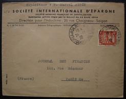 Saigon 1936 Indochine Cochinchine Société Internationale D'épargne Lettre Pour Paris, Texte En Rouge Au Revers à Voir ! - Covers & Documents