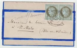 Affranchissement à 2c  Sur Faire Part De Naissance De Corseul Pour St Malo - 1871-1875 Ceres