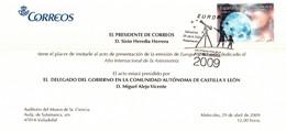 ASTRONOMIA - TARJETA INVITACIÓN  A LA PRESENTACIÓN DEL SELLO DEDICADO A LA ASTRONOMIA  (29 - 04 - 2009) - Abarten & Kuriositäten