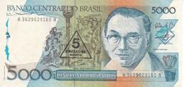 BILLETE DE BRASIL DE 5000 CRUZADOS DEL AÑO 1989 RESELLO 5 CRUZADOS NOVOS (BANKNOTE) SIN CIRCULAR-UNCIRCULATED - Brazil