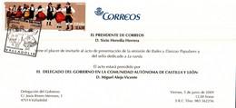 BAILES Y DANZAS POPULARES TARJETA INVITACIÓN PRESENTACIÓN.de La Emisión .Sello Dedicado A La Rueda Matasellos Valladolid - Abarten & Kuriositäten