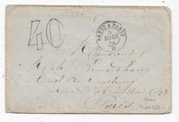 Dispersion Collection AMBULANT Sur Lettre Cad BREST A PARIS Taxe 40 1874 Combinaison Rare - Railway Post