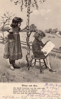 DC4685 - Schöne Motivkarte Kinder Mädchen Malen Ein Bild Adam Und Eva - Retratos