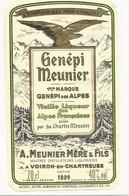 Wine Old Liqueur Alcohol  LABEL Etichetta Etiqueta / étiquette Ancienne Bouteille /  GENEPI VOIRON-EN-CHARTREUSE - Autres