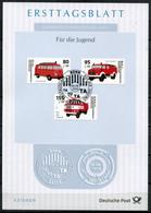 "Germany,Bund 2020 ETB 27/2020 Mi.Nr.3557/59 ""Historische Feuerwehrfahrzeuge,TSF VW,TLF16 W50,LF16 MB,Jugendm. ""1 Big ETB - FDC: Hojas"