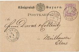 CTN66 ETR - BAVIERE - CP POUR MULHOUSE 30/4/1879 - Bayern