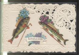 CPA 1er Avril - Carte Gauffrée , Découpis  , Imitation Broderie - 1° Aprile (pesce Di Aprile)