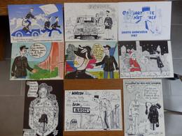 (16)  Lot De 9 Cartes Humoristiques Sur La Gendarmerie (Signées FARA) - Polizia – Gendarmeria