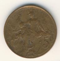 FRANCE 1908: 5 Centimes, KM 842 - C. 5 Centesimi