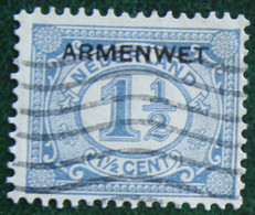 Armenwet 1 1/2 Ct NVPH D2 D2 (Mi Dienst 2) 1913 Gestempeld / Used  NEDERLAND / NIEDERLANDE - Dienstpost