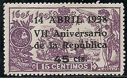 1938-ED. 755 -REPÚBLICA ESPAÑOLA - VII ANIVERSARIO DE LA REPÚBLICA. 45 Cts. SOBRE 15 Cts.-NUEVO CON FIJASELLOS - 1931-50 Ongebruikt