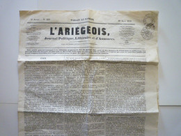 "GP 2021 - 3  JOURNAL  ""L'ARIEGEOIS ""  Du 16 Août 1851   XXX - Non Classificati"