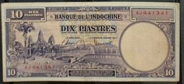 Indochine Indochina Vietnam Viet Nam Laos Cambodia 10 Piastres VF Banknote Note 1947 - P#80 / 2 Photo - Indocina