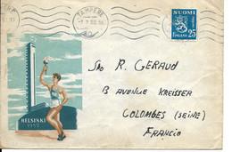 Lettre De Helsinki De Tampere Pour Colombes France Du 07.07.1952 Homme Tenant La Flamme Olympique - Briefe U. Dokumente
