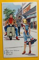 13080 - Mon Coeur Balance Plein Air Ou Ciné ? Illustration Carrière   Scooter - Humor