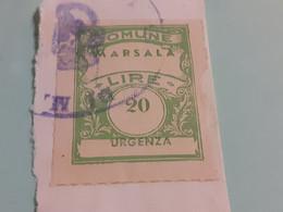 MARCA DA BOLLO COMUNE DI MARSALA URGENZA LIRE 20 - Fiscaux