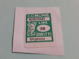 MARCA DA BOLLO DIRITTI DI URGENZA COMUNE DI NISCEMI  LIRE 20 - Fiscaux