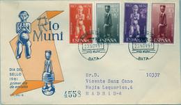 RIO MUNI , ED. 25 / 28 , DIA DEL SELLO 1961 , ARTE TRIBAL , SOBRE DE PRIMER DIA CIRCULADO , LLEGADA AL DORSO - Riu Muni