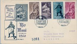 RIO MUNI , ED. 14 / 17 , DIA DEL SELLO 1960 , SOBRE DE PRIMER DIA CIRCULADO , LLEGADA AL DORSO - Riu Muni