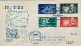 RIO MUNI , ED. 21 / 24 - 1º DE OCTUBRE DE 1961 , SOBRE DE PRIMER DIA CIRCULADO , LLEGADA AL DORSO - Riu Muni