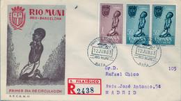 RIO MUNI , ED. 40 / 41 - PRO BARCELONA , SOBRE DE PRIMER DIA CIRCULADO , LLEGADA AL DORSO - Riu Muni