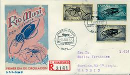 RIO MUNI , ED. 63 / 65 - PRO INFANCIA 1965 , INSECTOS , SOBRE DE PRIMER DIA CIRCULADO , LLEGADA AL DORSO - Riu Muni