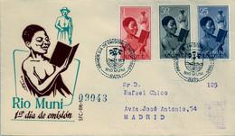 RIO MUNI , ED. 1 , 2, 4 - NIÑO INDÍGENA , INSECTOS , SOBRE DE PRIMER DIA CIRCULADO , LLEGADA AL DORSO - Riu Muni