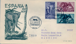 RIO MUNI , ED. 18 / 20 - PRO INFANCIA 1961 , FAUNA , PRIMATES , SOBRE DE PRIMER DIA CIRCULADO , LLEGADA AL DORSO - Riu Muni