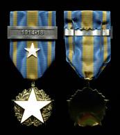 Médaille Des Blessés Civils Avec étoile Blanche Peinte, Agrafe 1914-18 Et épingle De Port - Francia