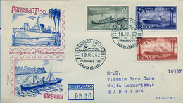 FERNANDO POO , ED. 207 / 209 - PRO INFANCIA 1962 , BARCOS , SHIPS , SOBRE DE PRIMER DIA CIRCULADO , LLEGADA AL DORSO - Fernando Poo