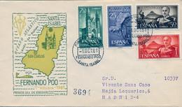 FERNANDO POO , ED. 199 / 202 - 1º OCTUBRE DE 1961 , SOBRE DE PRIMER DIA CIRCULADO , LLEGADA AL DORSO - Fernando Poo