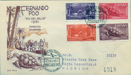 FERNANDO POO , ED. 203 / 206 - DIA DEL SELLO 1961 , TORTUGAS , SOBRE DE PRIMER DIA CIRCULADO , LLEGADA AL DORSO - Fernando Poo
