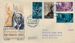 FERNANDO POO , ED. 188 / 191 - PRO INFANCIA 1960 , SOBRE DE PRIMER DIA CIRCULADO , LLEGADA AL DORSO - Fernando Poo