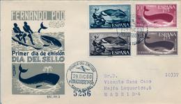 FERNANDO POO , ED. 192 / 195 - DIA DEL SELLO 1960 , SOBRE DE PRIMER DIA CIRCULADO , LLEGADA AL DORSO - Fernando Poo