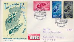 FERNANDO POO , ED. 242 / 244 - PRO INFANCIA 1965 , INSECTOS , SOBRE DE PRIMER DIA CIRCULADO , LLEGADA AL DORSO - Fernando Poo