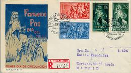 FERNANDO POO , ED. 235 / 238 - DIA DEL SELLO 1964 , SOBRE DE PRIMER DIA CIRCULADO , LLEGADA AL DORSO - Fernando Poo