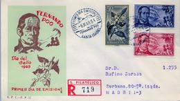 FERNANDO POO , ED. 220 / 222 - DIA DEL SELLO 1963 , SOBRE DE PRIMER DIA CIRCULADO , LLEGADA AL DORSO - Fernando Poo