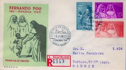 FERNANDO POO , ED. 215 / 217 - PRO INFANCIA 1963 , SOBRE DE PRIMER DIA CIRCULADO , LLEGADA AL DORSO - Fernando Poo