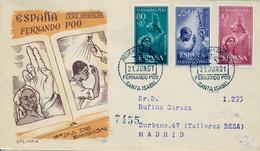 FERNANDO POO , ED. 196 / 198 - PRO INFANCIA 1961  , SOBRE DE PRIMER DIA CIRCULADO , LLEGADA AL DORSO - Fernando Poo