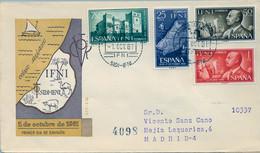 IFNI , ED.  179 / 182 - 1º DE OCTUBRE DE 1961 , SOBRE DE PRIMER DIA CIRCULADO , LLEGADA AL DORSO - Ifni