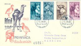 IFNI , ED.  159 / 162 - PRO INFANCIA 1960 , SOBRE DE PRIMER DIA CIRCULADO , LLEGADA AL DORSO - Ifni