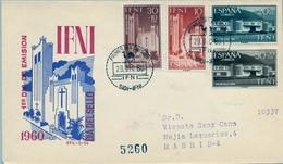 IFNI , ED.  172 / 175 - DIA DEL SELLO 1960 , SOBRE DE PRIMER DIA CIRCULADO , LLEGADA AL DORSO - Ifni
